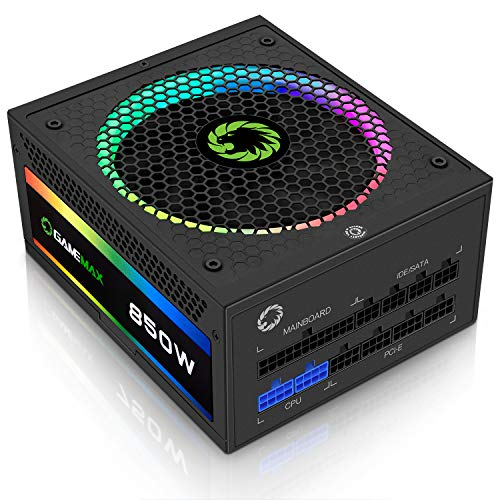 GAMEMAX Power Supply 850W Fully Modular 80+ Gold Certified with Addressable RGB Light - Vairous Color Mode, RGB-850