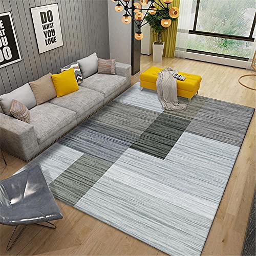 Alfombras habitacion Juvenil Alfombra Rayada Gris marrón Fácil de administrar y Duradero Alfombra Dormitorio Decoracion Gaming 120*160cm