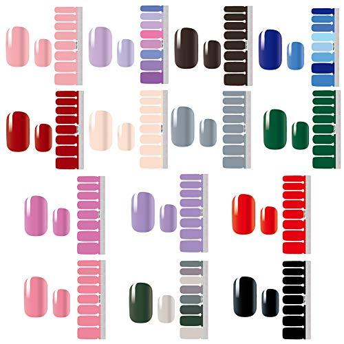 Nagelaufkleber,Nail Art Aufkleber,Nagelsticker,Design Selbstklebende Maniküre Einfarbig Sticker Schöne Mode DIY Dekoration 14 Blatt (196pcs) Nagelsticker