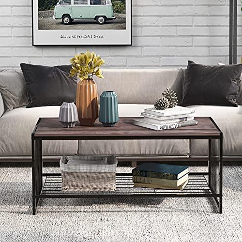 TITA-DONG Moderna esquina de metal y madera rectangular mesa de centro sala de estar otomano almacenamiento estante de cóctel mesa de TV mesa final consola mesa mesa zapatero