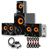 Acoustic Audio AA5170 Home 5.1 Bluetooth Speaker System with Optical Input and 5 Extension Cables