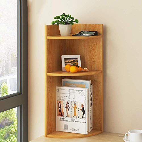 WYZXR Estantería creativa de varias capas para escritorio, pequeña estantería de oficina, estudiantes, estantería para libros, almacenamiento en esquina, 2 colores opcionales (color natural)