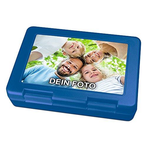 PhotoFancy® - Brotdose mit Foto bedrucken - Brotbox zum personalisieren - Lunchbox mit eigenem Motiv selbst gestalten (Blau)