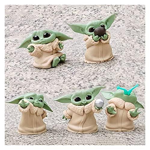 Wangweiming 5 unids/Set Yoda Grogu Figura de acción Juguetes 5-6CM Yoda Action Toys Star Wars Figuras Hot Kids Toys WWM (Color : Red)