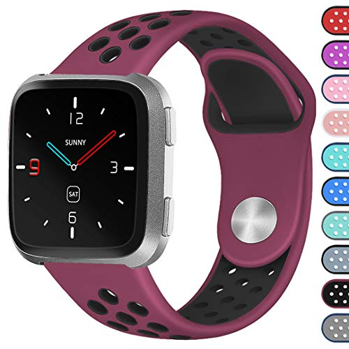 Ouwegaga for Fitbit Versa Sport Bands for Women Men Small Fitness Straps Replacement Wristbands with Breathable Holes Fushia Black
