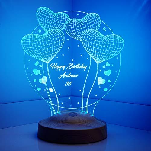 Preisvergleich Produktbild Sentidos Nachttischlampe Personalisierte Geschenke 3D Led Lampe,  Wunschtext,  Schlummerlicht,  Farbwechsel Deko Lampe - Vier Herzen