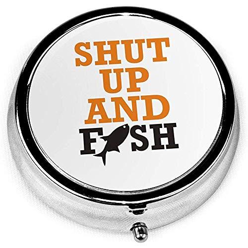 Halt die Schnauze Fisch tragbare Runde Silber Pillendose Tasche 3 Fach Medizin Fall für Tasche oder Geldbörse