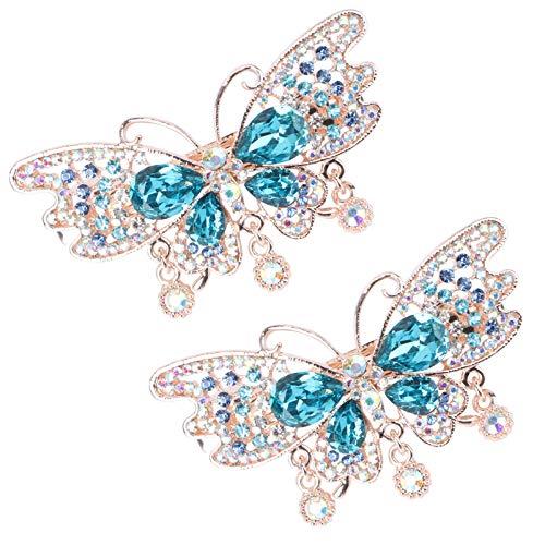 FRCOLOR 2 Stück Strass Haarspangen Glitzer Schmetterling Haarnadel Funkelnde Haarschmuck Geschenke für Mädchen Frauen Weihnachten Geburtstagsfeier Gefälligkeiten