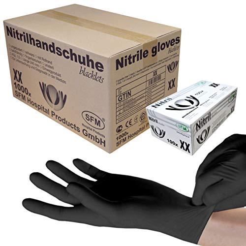 SFM ® BLACKLETS Nitril : XS, S, M, L, XL schwarz puderfrei F-tex Einweghandschuhe Einmalhandschuhe Untersuchungshandschuhe Nitrilhandschuhe XS (1000)