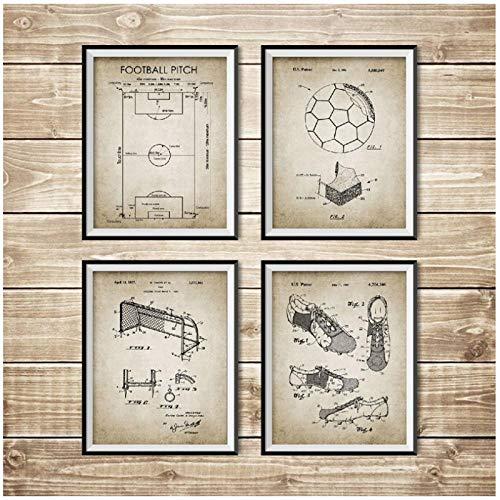 DLFALG Carteles e impresiones de planos de fútbol vintage Campo de fútbol Balón de fútbol Bota Red de portería Diseño Arte de la pared Pintura Decoración para el hogar-40x50cmx4 Sin marco