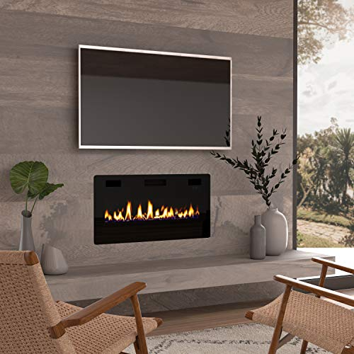 "Cloud Mountain 36"" Electric Fireplace Recessed 3.86"" Ultra Thin Insert, Wall Mounted and in Wall Easy Installation with Remote Control, 750W/1500W, Low Noise (Fake Fire)"