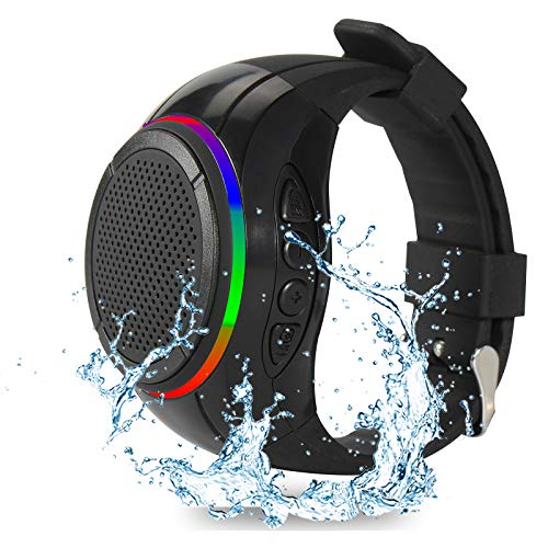 Frewico X10 Waterproof Wearable Bluetooth Speaker Portable Wireless Speaker with TWS+Voice Control+LED Flashing Light+MP3 Music Player+Mic+SD Card Slot, for Sports,Outdoor Travel and Home(Black)