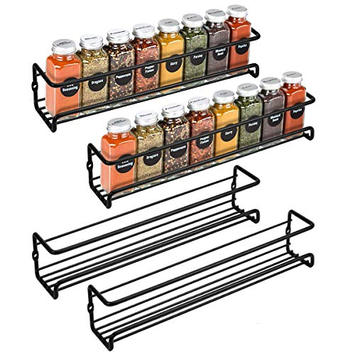 GAIATOP Wall Spice Rack 4-piece, Hanging Spice Rack, Spice Rack Wall Mount on Cabinet, Wall in...