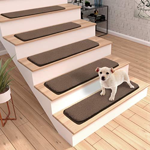Ottomanson Soft Non-Slip Solid Stair Treads, Brown, 9