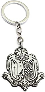 Monster Hunter World Iceborne Guild Card Keychain Men's Novelty Keychain Backpack Pendant Clothing Accessories Necklace Pendant for Party Supplies Anime Game Collection Gifts(Silver)