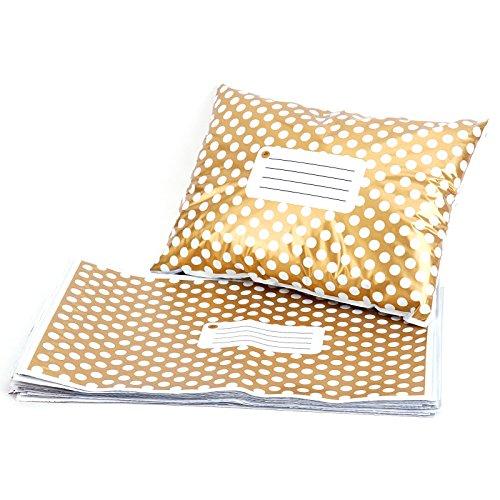 50st Versandtaschen Versandbeutel Versandtueten Blickdicht, Golden Polka Dots, 230x305MM