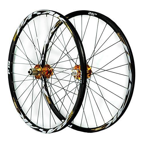 ZFF MTB Juego De Ruedas 26/27,5/29 Pulgadas Bicicleta Montaña Delantera + Trasero Rueda Pared Doble Liberación Rápida 7 8 9 10 11 Velocidad (Color : Gold, Size : 26in)