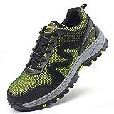 YXWa Botas para Hombres Seguro de Trabajo Zapatos Calzado Deportivo tendón Tela Verano Transpirable Tejido Zapatos Seguro de Trabajo Anti-ácaro pinchazos Zapatos de Trabajo Antideslizante Resistente