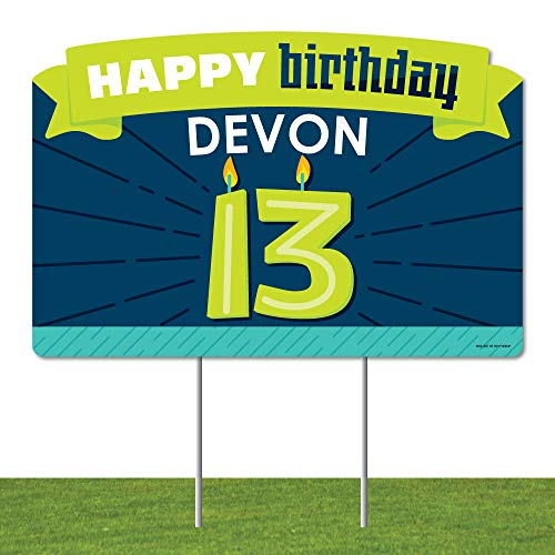 Big Dot of Happiness Personalized Boy 13th Birthday - Official Teenager Birthday Party Yard Sign Lawn Decorations - Happy Birthday Custom Name Party Yardy Sign