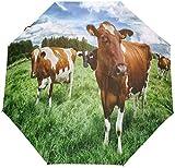 AOTISO Summer Green Grass Cow Tragbar Winddicht Regenschutz Sonnenschutz 3 Falten Auto Open Close...