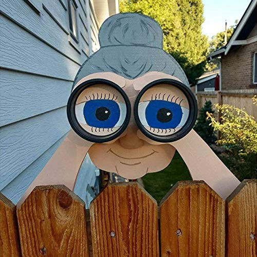 Nosy Old Man And Lady Yard Sign - Fence Outdoor Hanging Decoration - Cute Lifelike Peeking Neighbor Sculpture, Yard Art Garden Outside Decor Gift 11 Inch (Size : Cute Lady)