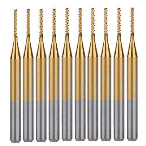 FunLeben 10 Pcs 0.5mm Schaftfräser CNC Fräser Blau Beschichtete Hartmetall Fräser Gravur Bits