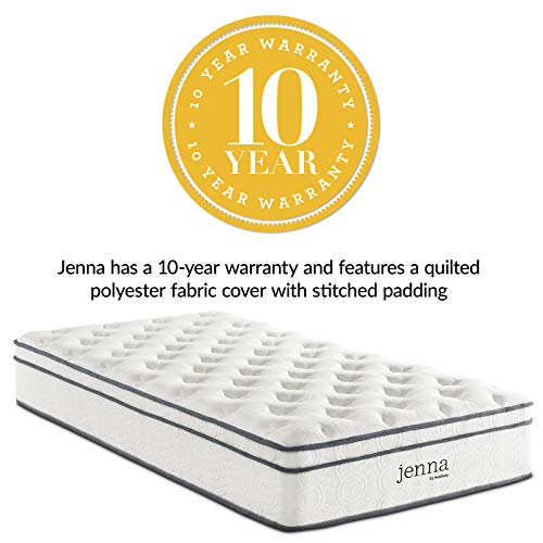 "Modway Jenna 10"" Quilted Pillow Top Twin Individually Encased Coil Innerspring Mattress"