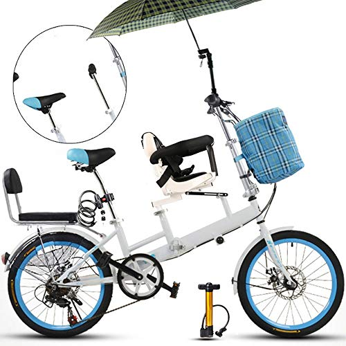 YUMEIGE Dreiräder 20 Zoll Fahrrad, Mutter und Kind Tandem Folding Shifting Disc Bremszaun Sicherheitsgurt Doppel Mutter Abholen Kind Fahrrad (blau)