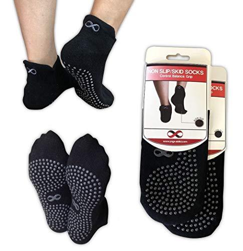 YogaAddict - Yoga-Socken für Herren in Schwarz - 2 Paar, Größe Medium - Large