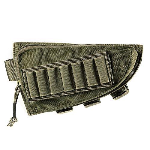 OneTigris Tactical Buttstock Shotgun Rifle Shell Holder Cheek Rest Pouch (Green)