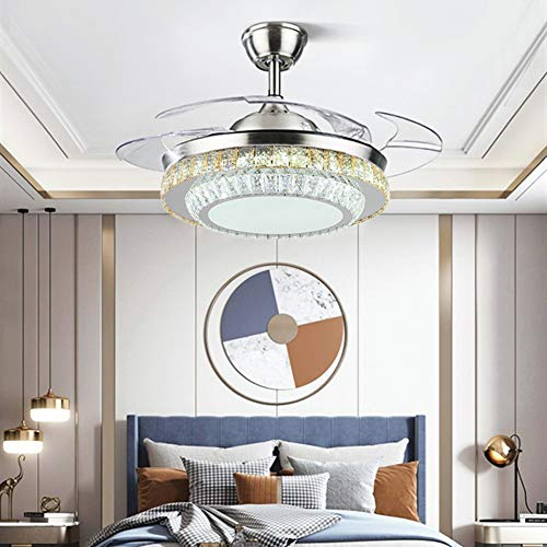 Fandian 42″ Modern Crystal Chandelier Ceiling Fans with LED Lights and Retractable Blades, Remote Control, 3 Color Changes 3 Speeds Pendant Fixtures with Chrome Shade, Silent Motor