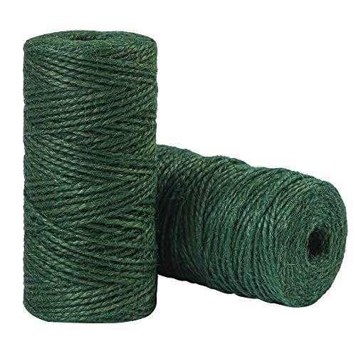 Elcoho 2 rollos de yute verde para jardín, cuerda natural para jardinería, envoltura de regalos, decoración, manualidades, 656 pies en total