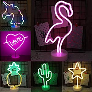 USB LED NEON SIGNAGE LUMIÈRE VACANCES FLAMINGO Night Light Fête de Noël décoration de mariage veilleuse cadeau à la maison licorne coeur lampe au néon (Color : 005)