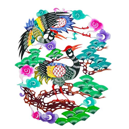 Black Temptation 4PCS Chinese Traditional Art Paper Cut Décor Collection colorée Souvenir-A20