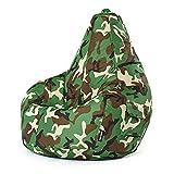 Green Bean © Cozy Beanbag, Gaming Sitzsack Sessel 80x70x90 cm, 230 Liter EPS Perlen Füllung, Indoor & Outdoor Gamingstuhl , Bean Bag Lounge Chair für Kinder & Erwachsene - Camouflage Grün