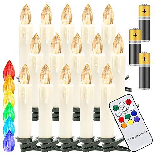 Hengda 30er LED Weihnachtskerzen Kabellos, mit Fernbedienung Timer und Batterien, Warmweiß & RGB Christbaumkerzen Kabellos, Wasserdicht LED Kerzen für Weihnachtsbaum, Weihnachtsdeko, Weihnachten