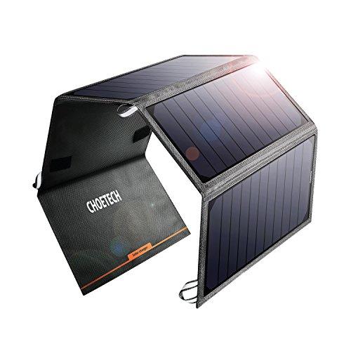 CHOETECH 24W Caricatore Solare con 2 Porte USB Pannello Solare Compatibile con Apple iPhone, iPad, Samsung, Huawei, Xiaomi e Altri dispositivi USB