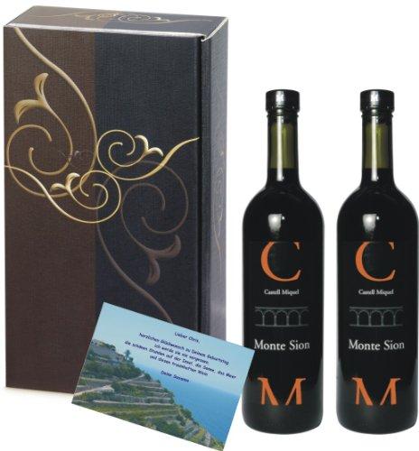 Weingeschenk Geschenkset Castell Miquel Cuvée Monte Sion Rotwein 2er Geschenk Set, elegance