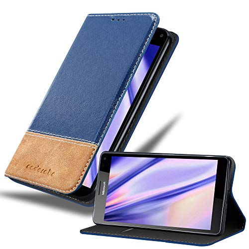 Cadorabo Hülle für Nokia Lumia 950 XL in DUNKEL BLAU BRAUN – Handyhülle mit Magnetverschluss, Standfunktion und Kartenfach – Case Cover Schutzhülle Etui Tasche Book Klapp Style