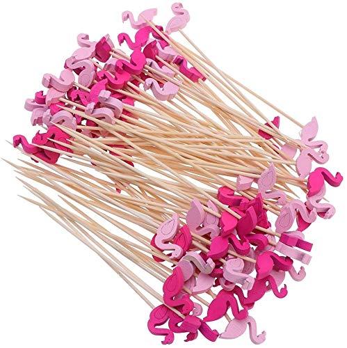 FLZONE Cocktail-Sticks,100 Stück Cocktailspieße Bambusspieße für Cocktails Vorspeisen Früchte Desserts Partyzubehör Obstspieß-Flamingo