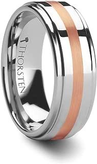 Nicolaus Rose Gold Ring Inlaid Raised Center Tungsten Carbide Wedding Band - 6mm & 8mm