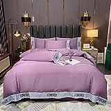 Juego de ropa de cama con funda de edredón-Simple Color Sólido Lavado de agua Seda Juego de cuatro piezas, Bordado...