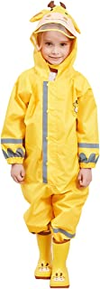 Liny Kids One Piece Rainsuit,Unisex Toddler Waterproof Rain Coat Coverall with Reflective Strips and Hats for Boys Girls