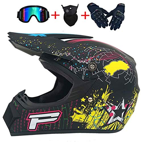 Helmet LWAJ Cascos Integrales para Jóvenes Adultos, Casco 4 Seasons Off Road con Gafas, Guantes y máscara ATV Dirt Bike Mountain Racing Bike Motocross MX Combo