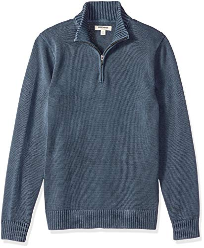 Amazon Brand - Goodthreads Men's Soft Cotton Quarter Zip Sweater, Washed Navy, Small