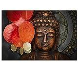 Buddha Canvas Wall Art Wood Buddha Statue Canvas Prints Keep inner Peaceful Buddha Artwork for Living Room Yoga Room (24'x36')