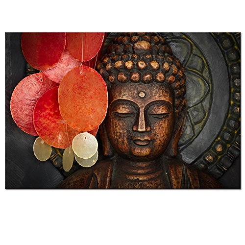 Buddha Canvas Wall Art Wood Buddha Statue Canvas Prints Keep inner Peaceful Buddha Artwork for Living Room Yoga Room (24'x36')