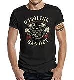 Gasoline Bandit® Hot Rod Biker Camiseta: Vintage Rider-XL