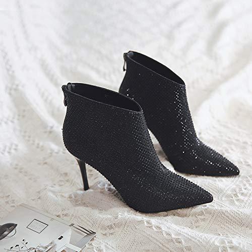 Yankuoo Dameslaarzen, enkele laarzen, lichte strass-hak korte laarzen, punt/dunne hiel, hoogte 9 cm 38 EU zwart