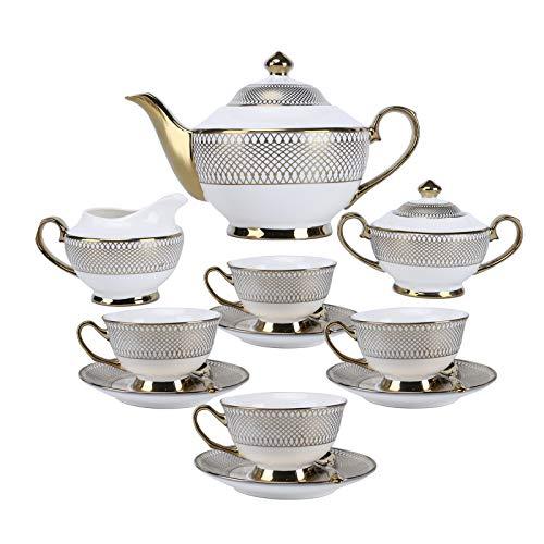 fanquare 11 Piezas Juego de Té de Porcelana Británica para Adultos, Juego de Café Vintage de Cerámica Dorada, Servicio de Té para Bodas y Fiestas